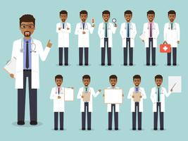 Conjunto de médico Africano, equipe médica.
