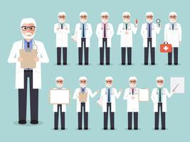 Conjunto de médico sênior, equipe médica. vetor