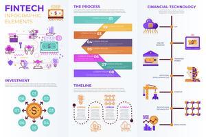 Elementos de infográfico Fintech (tecnologia financeira) vetor