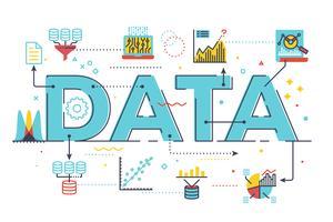 Ilustração de letras de palavra de dados
