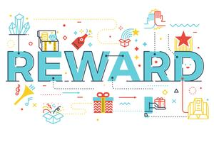 Recompensa, palavra, lettering, ilustração vetor