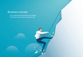 empresário subiu a montanha. conceito de negócio de vitória e sucesso vetor