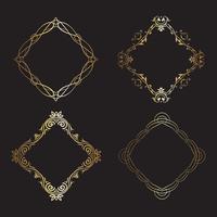 Coleção de molduras decorativas de ouro vetor