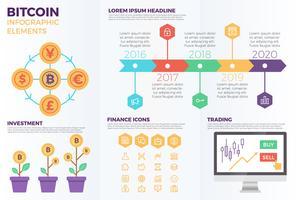 Elementos de infográfico cryptocurrency Bitcoin