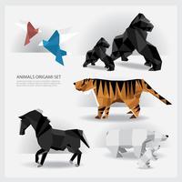 Origami de animais conjunto ilustração vetorial vetor