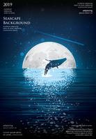 Seascape Poster Background Ilustração Design Gráfico Vector