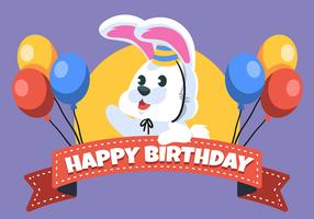 Feliz aniversário animal coelho vetor