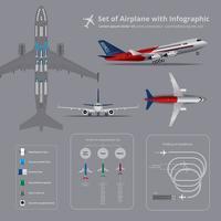 Conjunto de avião com ilustração vetorial isolado de infográfico