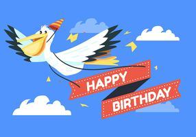 Pelicano de animais feliz aniversário vetor