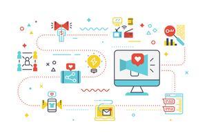 Ilustração de marketing de mídia social