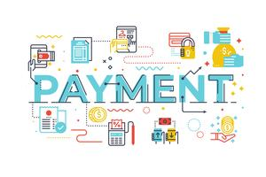 Palavra pagamento, lettering, ilustração