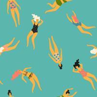 Padrão sem emenda de vetor com mulheres a nadar. Elemento de design