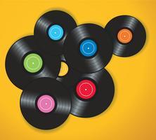 discos de vinil coloridos com ilustração vetorial de fundo amarelo