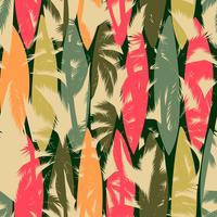 Abstrata sem costura padrão com palmeira tropical. Modelo de vetor