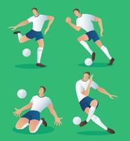 conjunto de caracteres futebol jogador de ação, ilustração vetorial de jogador de futebol vetor