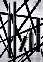 Cosméticos delineador com embalagem Poster Design Vector Illustration
