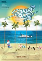 Verão e férias tempo viagem Poster Design modelo Vector Illustration