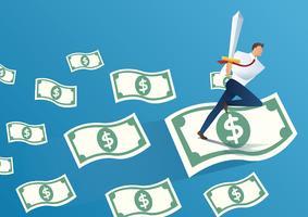 empresário segurando a espada em notas de dinheiro. ilustração em vetor conceito negócio
