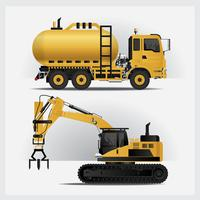 Ilustração de vetor de veículos de construção