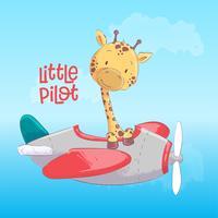 Girafa bonito do cartaz que voa em um avião. Estilo dos desenhos animados. Vetor