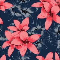 Flores de Frangipani pastel sem costura padrão rosa sobre fundo azul escuro. Desenho de linha artística. Ilustração vetorial