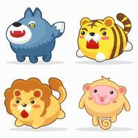Conjunto de caracteres engraçado dos desenhos animados de animais fofos vetor