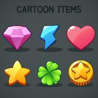 Itens de desenhos animados Símbolos diferentes ativos Elementos GUI para jogos móveis casuais vetor