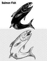 Vetor de peixe por desenho de mão