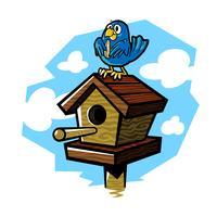 Bonito, pássaro madeira, casa, vetorial, caricatura, ilustração vetor