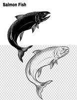Vetor de peixe à mão de desenho.