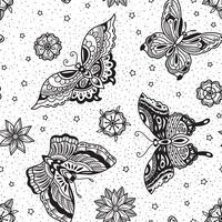Estilo vintage tradicional tatuagem flash borboletas e flores sem costura padrão vetor