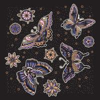 Coleção da tatuagem da borboleta e da flor no estilo da velha escola. vetor