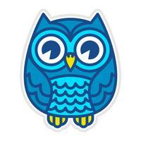 Pássaro de coruja bonito dos desenhos animados com grandes olhos na posição sentada vetor