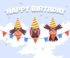 Aves de animais feliz aniversário vetor