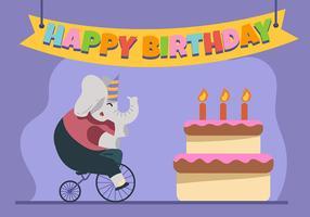 Feliz aniversário animal elefante vetor