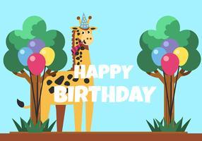 Feliz aniversário animal girafa vetor
