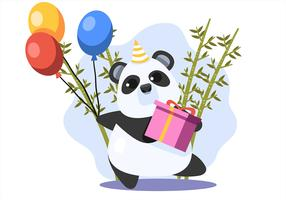 Panda feliz do animal do aniversário vetor
