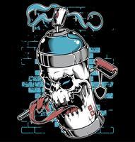 Pulverizador tinta caveira cara grafite personagem de desenho animado vetor
