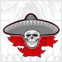 skull wearing sombrero hat méxico com rosa vetor