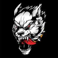 desenho de mão de vetor de lobo