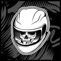 vetor de desenho de mão de capacete de crânio
