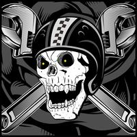 Emblema de caveira motociclista vintage