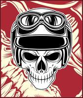 desenho de mão de vetor de capacete de crânio