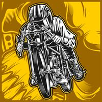 desenho de mão de vetor de corrida de motocicleta