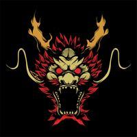 vetor de desenho de mão de dragão de cabeça
