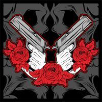 2 mão segurando a arma com a rose, vector