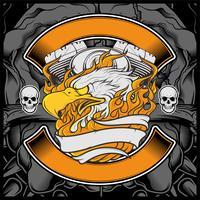Motocicleta águia americana logotipo emblema Design gráfico águia ilustração - vetor