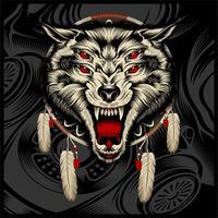 rugido de lobo bravo vetor
