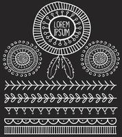 Mão desenhada vetor elementos tribais, estilo Boho preto