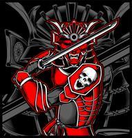 Ilustração de japonês de crânio de samurai